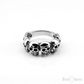 Six Skull Sterling Silver 925 Ring