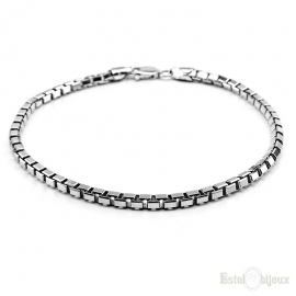 Square Sterling Silver 925 Men's Bracelet