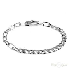 Two Types Chain Sterling Silver 925 Bracelet