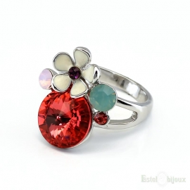 Flower and Crystals Ring