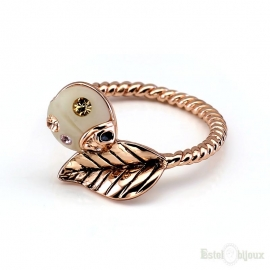 Ladybug and Leaf Gold Plated Ring