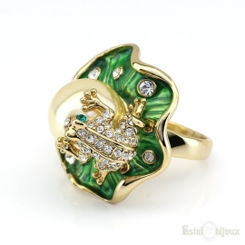 Waterlily Frog and Pearl Gold Plated Ring
