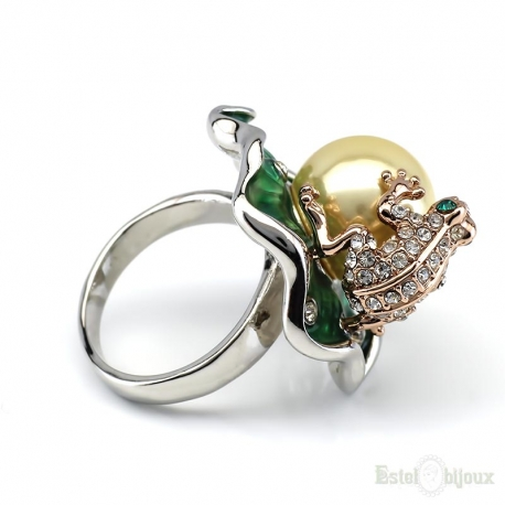 Frog and Pearl Gold Plated Ring