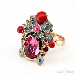 Flowers and Crystals Gold Plated Ring