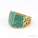 Enamel Flower Rose Gold Plated Ring