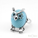 Azure Owl and Crystals Ring
