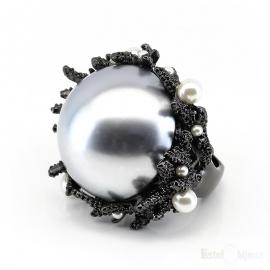Anello Perla e Coralli Neri