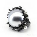 Corals and Pearls Black IP Ring