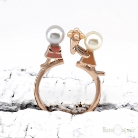 Love He and She Gold Plated 18k Ring