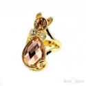 Cat and Crystals Gold Plated Ring