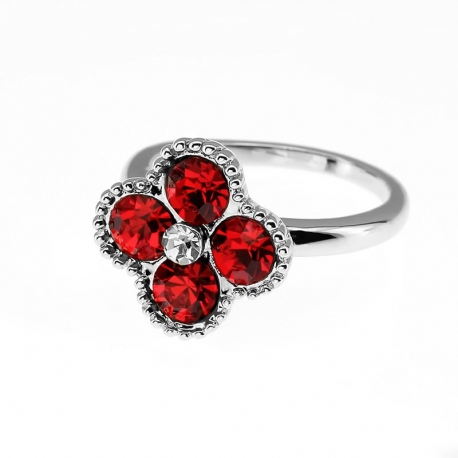 Four Leaf Clover Red Crystals Ring