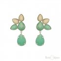 Green and White Stones Earrings