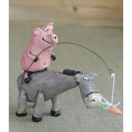 Donkey and Pig Figurine Ceramic