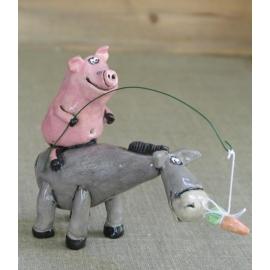 Figurina in ceramica Asino e Maiale