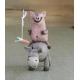 Donkey and Pig Figurine Ceramic