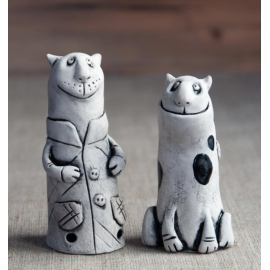 Black and White Cats Figurine Ceramic