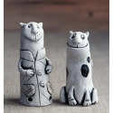 Black and White Cats Figurine Ceramic