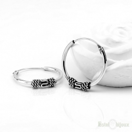 Hoop Sterling Silver 925 Earrings 15 mm