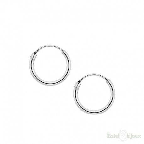 Hoop Sterling Silver 925 Earrings 10 mm