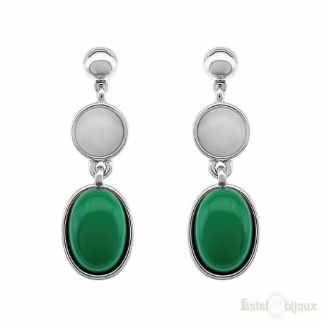 White and Green Stones Earrings