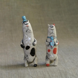 Figurine in ceramica Gatti di Business