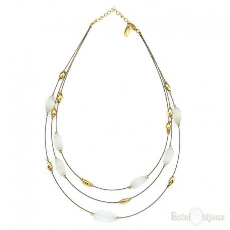 Three Laps Cat Eye Stones Necklace