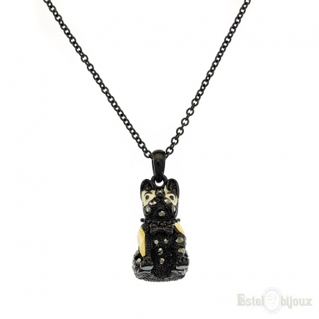 Black Bulldog Necklace