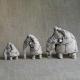 Three Elephants Figurine Ceramic