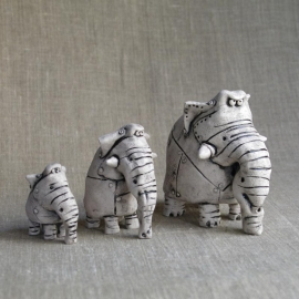 Three Elephants Figurine Ceramic