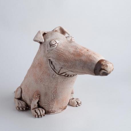 Cane Grande Figurina in Ceramica