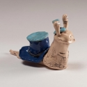 Snail in Blue Hat Figurine Ceramic