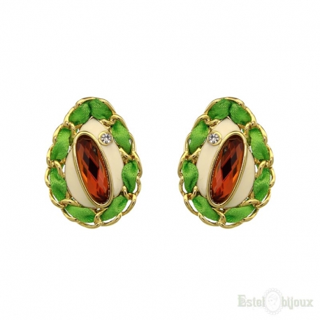 Fabric Strass and Enamel Earrings