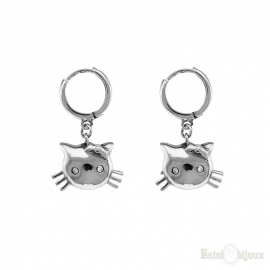 Cat Hoop Sterling Silver 925 Earrings
