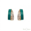 Strass and Aquamarine Enamel Creole Earrings