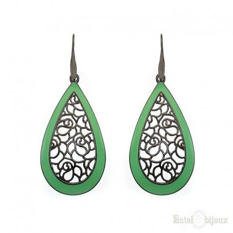 Filigree Green Black Drop Earrings