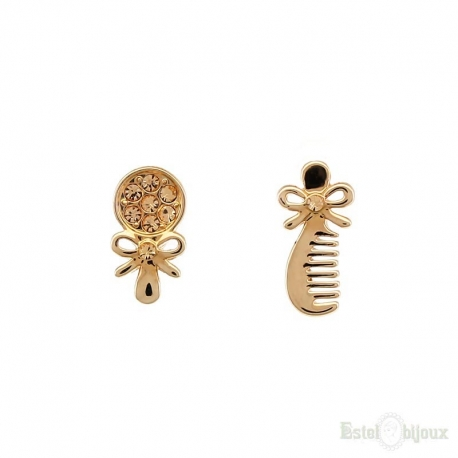 Comb and Mirror Gold Plated Earrings