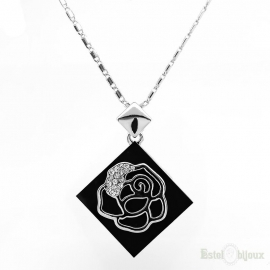 Rose in Black Necklace