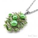 Collana Perle e Strass Verdi