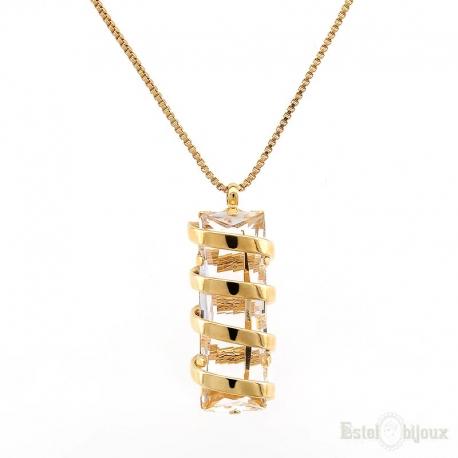 Collana Grande Swarovski Placcata in Oro