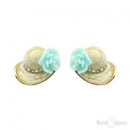 Orecchini Cappello e Fiore Rosa