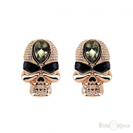 Skull and Strass Stud Earrings