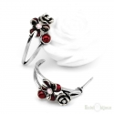 Silver Crescent Flowers and Strass Earrings