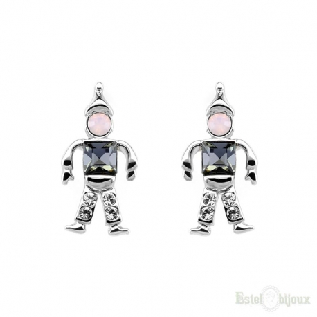 Robot and Strass Gold Plated Earrings