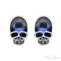 Skull Blue Crystal Earrings
