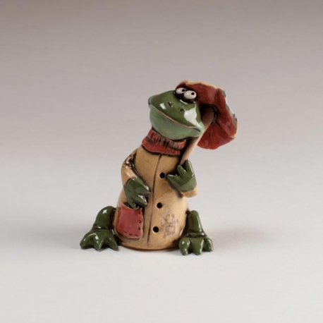 Frog With Umbrella Figurine Ceramic