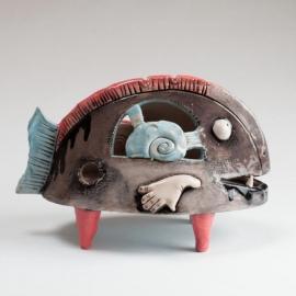 Pesce Africana Figurina in Ceramica