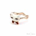 Enamel Cat Gold Plated Ring