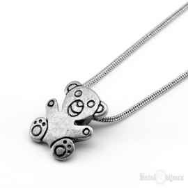 Teddy Bear Silver Color Necklace