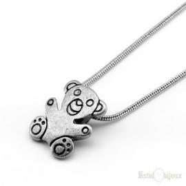 Teddy Bear Silver Color Necklace