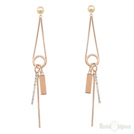Long Pendants Rose Gold Plated Earrings